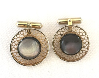 Vintage Destino Black Gray  Mother of Pearl & Gold Tone Filigree  Cuff Links Round - Groom Groomsmen Formal Tuxedo Black Tie Wedding