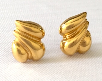 St. John Clip Earrings - Gold Tone Earrings-Vintage-Bride, Wedding Earrings, Mother of the Bride, Bridesmaids Earrings-Designer Earrings