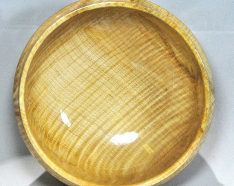 Curly Maple Bowl - HIghly Figured - Wooden - Hand made