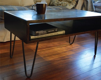 Steel top coffee table , Mid century coffee table , industrial coffee table
