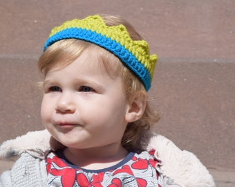 SALE: Popsicle BLUE and GRASS Crochet Crown for 12 mo Girls Boys Birthday