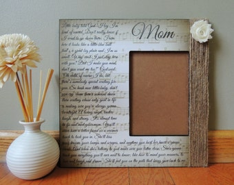 """Custom """"Mom""""  by Garth Song Lyric Frame 