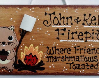 FIREPIT SIGN Personalized Name SQUIRREL Sign Fire Pit Backyard Deck Patio Plaque