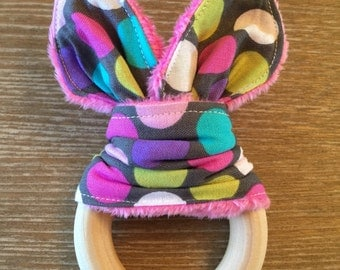 New Polka Dot Print Organic Maple Wood Teething Ring