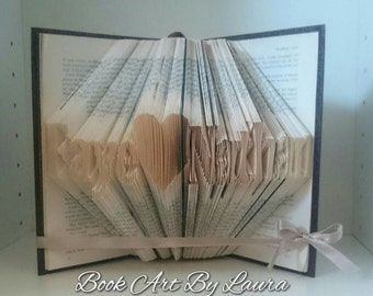 Heart with 10 Charactetrs - Unique folded book art. Custom made with a word of your choice