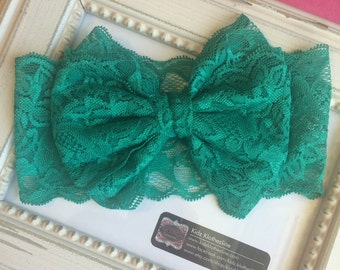 Wide Lace Large Bow Baby Photo Shoot Teal lace bow headband Headwrap Christmas Headband