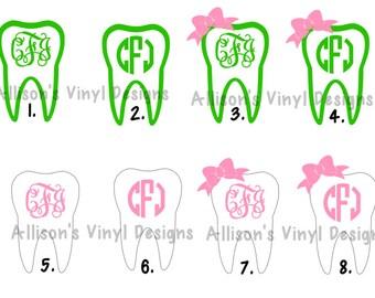 Monogram Tooth, Dental, Dental Hygiene, Dentist Vinyl Decal