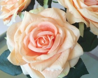 Peach Open Artificial Silk Roses