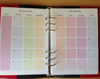 Pastel Rainbow 12 Month Calendar (A5 PDF files) Month on Two Pages