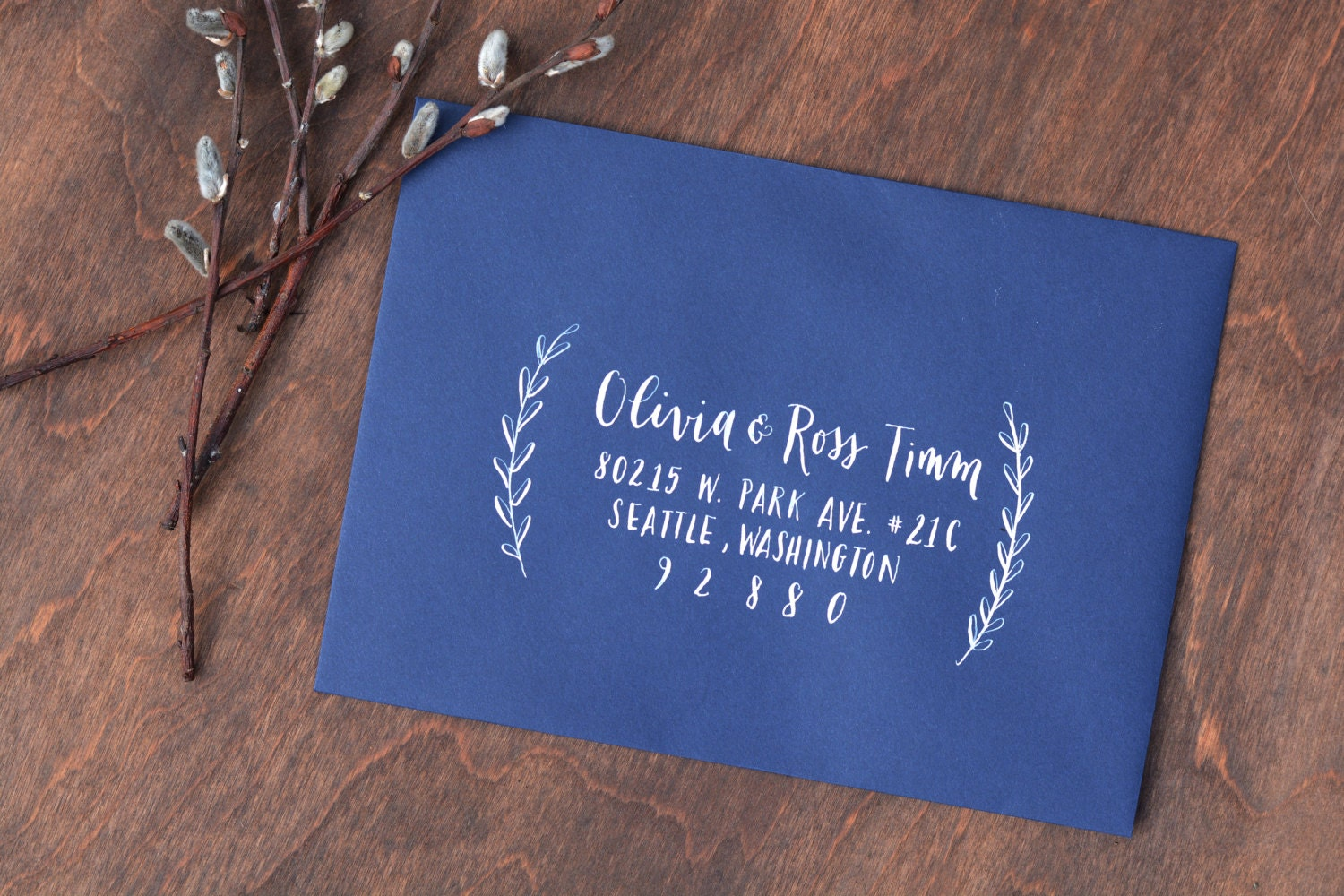 Wedding calligraphy envelope addressing modern