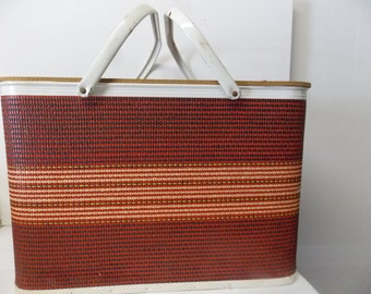 Vintage Wicker Weave Red & Black Large Picnic Basket with Shelf Insert and Metal Handles