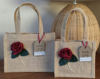 Beautiful hand finished Jute gift bag. Natural with Red Rose & 'With Love' tag. Small or Medium size.