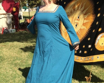 Medieval Princess Dress- cotton- turquoise- XL- ready to ship