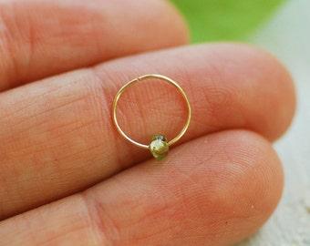 Tiny Green peridot Cartilage hoop Earring, GOLD or SILVER helix earring, Nose hoop, Helix earring