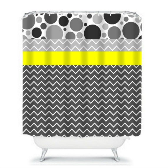 Shower curtains chevron bubbles gray and yellow modern bathroom on