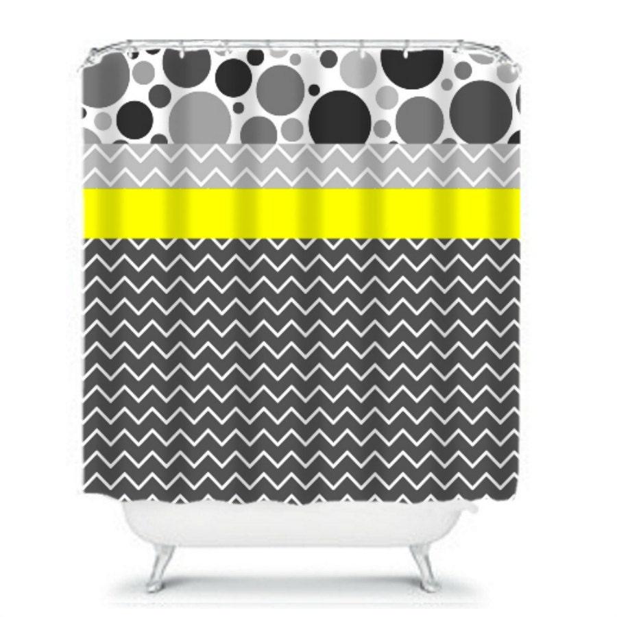 Chevron Grey And Yellow Shower Curtain