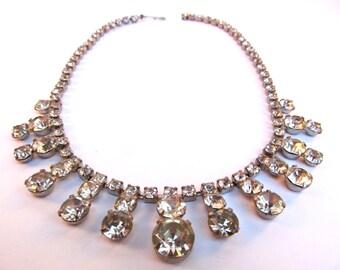 1950's Chic Crystal Clear Rhinestone Choker, Bib Necklace ~ Harry Winston Style