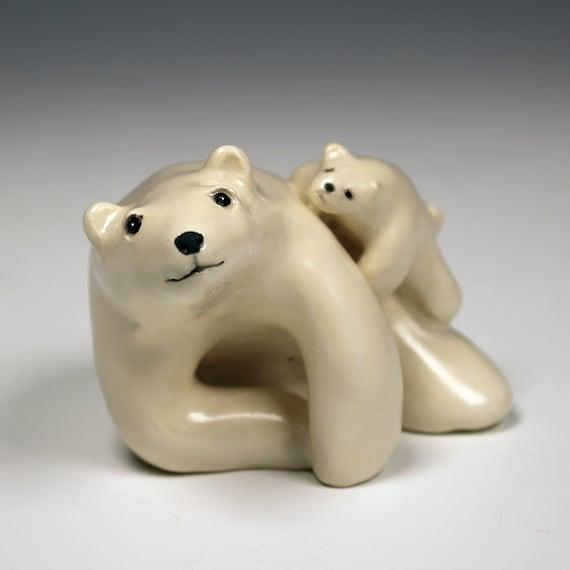 ours polaire et ourson uvres d 39 art originales sculpture. Black Bedroom Furniture Sets. Home Design Ideas