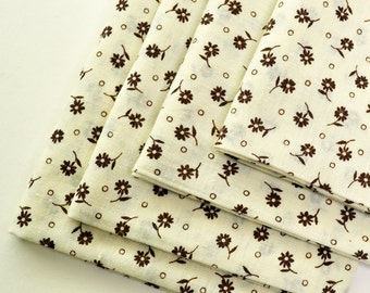 Napkins Brown Flowers on Beige Cotton Set of 4