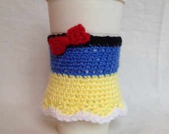 Snow White inspired coffee cup cozy-hand crocheted