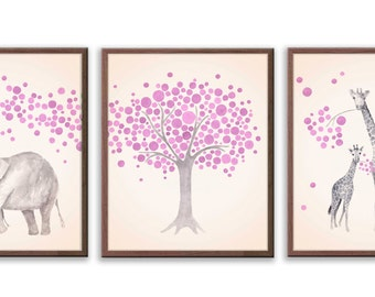 Elephant Nursery Decor, Baby Girl Nursery, Pink Purple Nursery, Watercolor Nursery art, Elephant and Giraffe, Set of 3 Prints - S024B