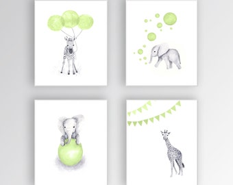 Kids Wall Art, Canvas Nursery Art, Green and Gray Nursery, Elephant Nursery, Safari Animals, Set of Four Canvas - S421