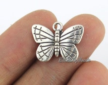 10 Butterfly Charms--2 Sided Tibetan Silver Tone Charms Pendants Jewelry Findings DIY Accessories--BF316