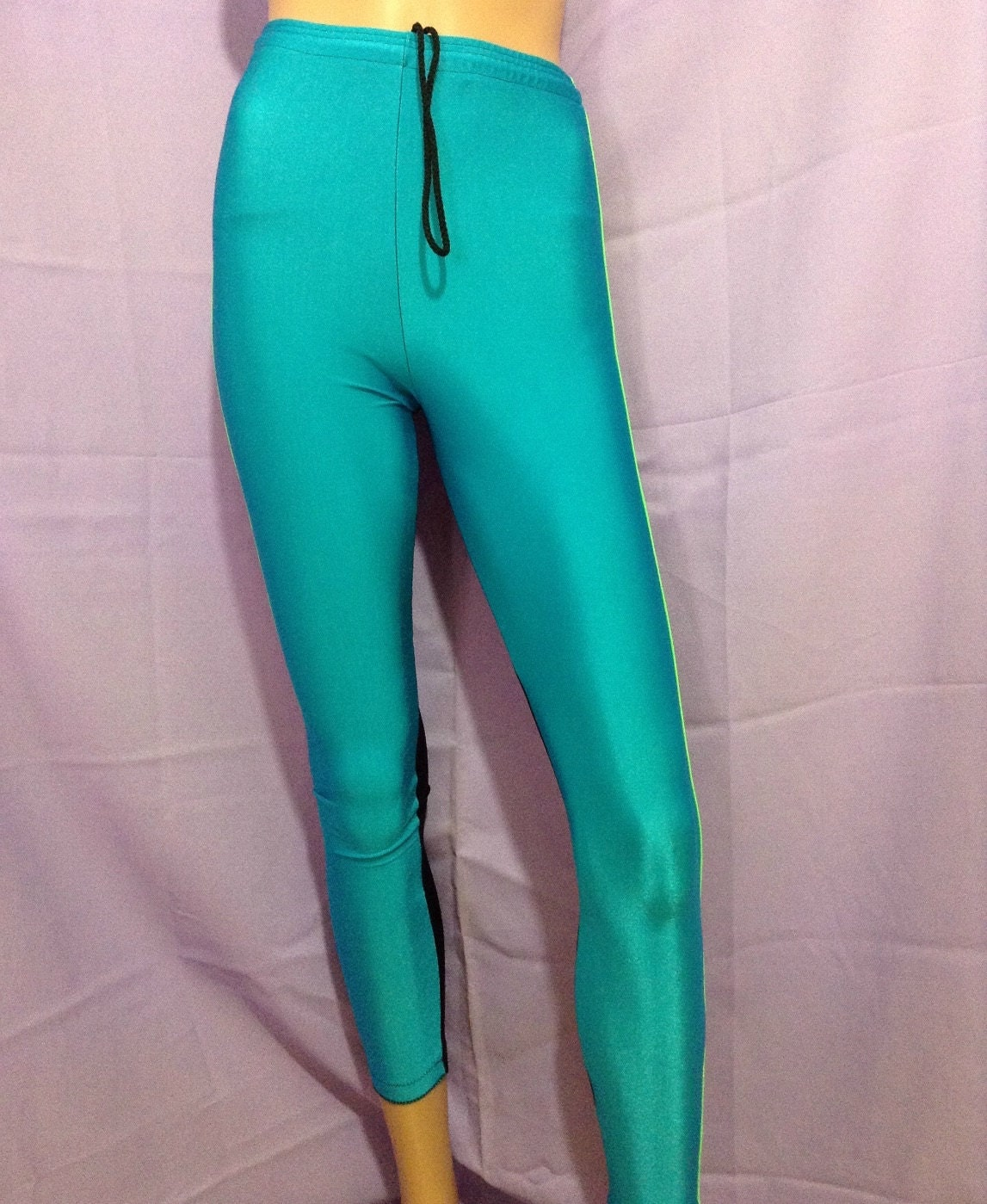 Vintage 80s leggings turquoise and black size by SilkySuspect
