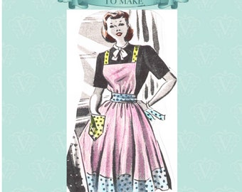 1950s easy make apron sewing pattern- full size paper pieces