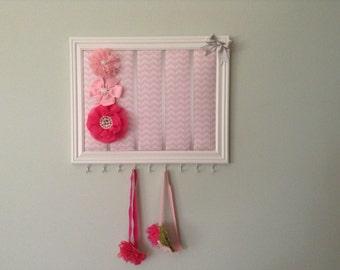 Pink Chevron headband and hair bow frame organizer