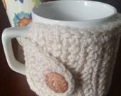Coffee Mug Cozy in Cream Crochet Mug Warmer Coffee Cozy  Tea Cozy NandysNook