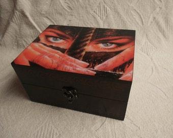 Wooden jewelry organizer,decoupage box, Box for jewelry,memory box,wooden storage box,decorative box with lid,  decoupage jewelry box, brown