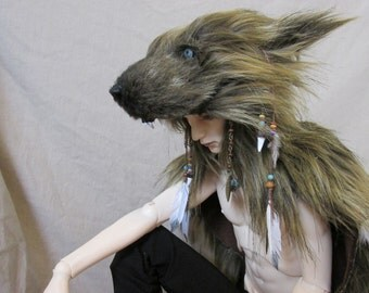 BJD scale doll size white Wolf / werewolf headdress [now also available in life size!!!]