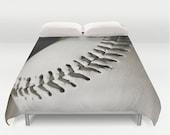 Sports Duvet Cover-Baseball Duvet Cover-Sports Bedding-White & Brown Bedding-Boys Bedroom Decor-Athletic Bed Cover-Twin/Full/Queen/King
