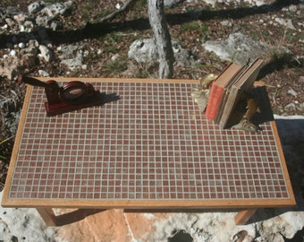 Oak Wood and Glass Mosaic Tile Coffee Table