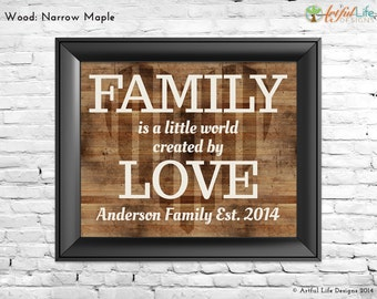 Personalized Gift Family Quote Art Print, Family Name Sign Wall Art, Gift for Parents, Grandparents, Mom, Dad, from Kids
