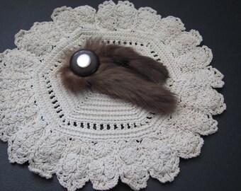 Mink Fur Brooch, Fur Sweater pin, Fur Hat pin, Mink Sweater Pin, Vintage Fur Brooch