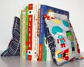 Superhero Nursery & Kid's Bookends, Child Safe Fabric Bookends, Reversible-  Colorful Nursery and