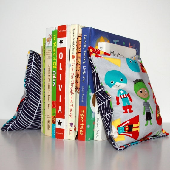Superhero Nursery Kid 39 S Bookends Child Safe Fabric