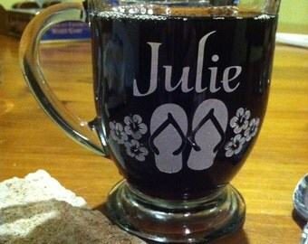 Coffee cup with Name and Flip Flops