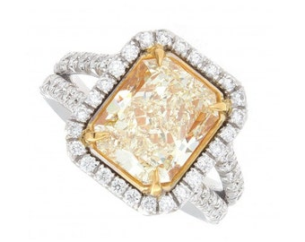 4.97ct Fancy Intense Yellow Radiant Cut Diamond Ring