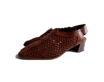 90s braided natural tan leather french SHOES