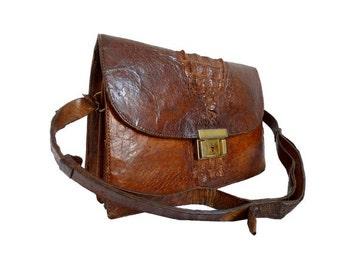 FRENCH 70s  croco leather Handbag
