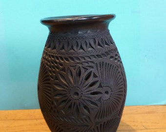 Vintage Mexican Black Pottery Tall Carved Black Clay Vase Made in Oaxoca