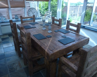 Rustic handmade Dining table with 6 chairs made form reclaimed HARDWOOD!