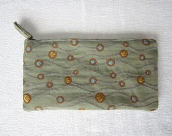 Clutch Purse in Modern Sea Scape Fabric in Sage, Bronze and Gold