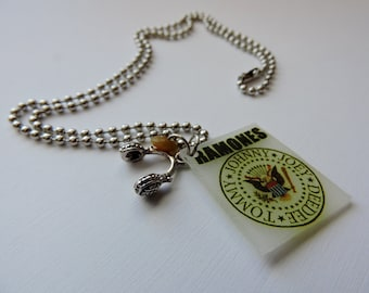 Charm Necklace The Ramones Novelty Charm Necklace with Headphone Charm, The Ramones, The Ramones Jewelry