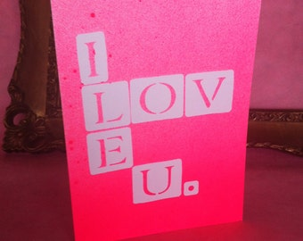 Valentine's Day Card, Day-Glow Bright Pink, Handmade Collage with Spraypaint =)