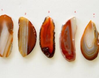 Agate Slice Pendant, Reddish Brown Agate Pendant, Large Agate Slice, Agate Geode Slice Pendant, Stone Pendant, Group F