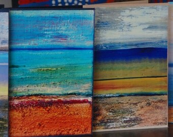 Set of 4 Colourful Art Greeting Cards / Note cards from Original Abstract Painting 'Beach' by Gigi Joel - Blank inside